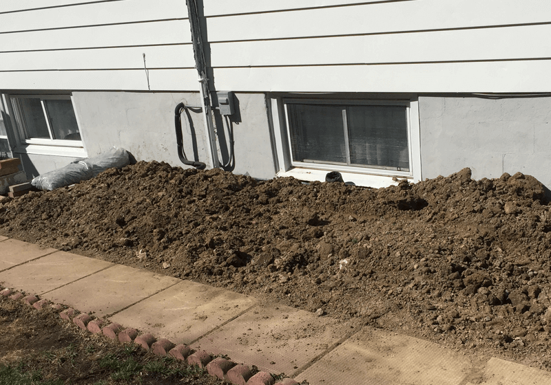 Backfilling exterior waterproofing project